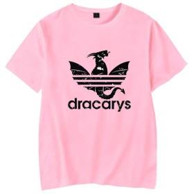 記念シャツ dracarysTシャツ インナーシャツ おしゃれティーシャツ メンズファッション uネック 半袖 夏服 ギフト 誕生日プレゼント (ピンク, XL)
