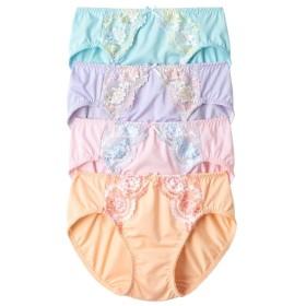 花柄刺しゅうやや深履き丈ショーツ4枚組 スタンダードショーツ,Panties