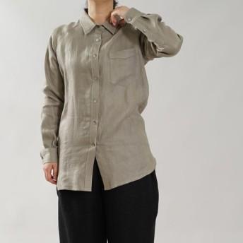 【wafu】中厚 リネン 本格シャツ Wガーゼ リネン100% メンズライク / カシミヤベージュ t035b-csb2