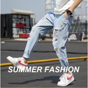 [55555SHOP] 人気商品!新作 デニム ショート メンズ 韓国風 破れ 加工 カジュアル デニムパンツ 爆発モデル トレンド メンズ ファッション
