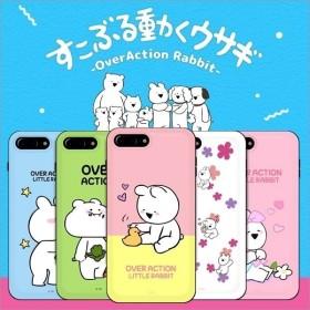 すこぶる動くウサギ 正規品 スマホケース カード入れ iPhone 8 / 7 plus スタンド式 カード収納 Over Action ICカード【 国内発送 韓国コスメ 】