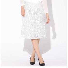 【J Lounge:スカート】ボーダーフラワーレーススカート