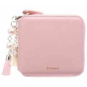 【セット品】Fennec フェネック 2つ折り ファスナー 財布 本革 サイフ レディース 二つ折り タッセルチャーム付き コインケース付き