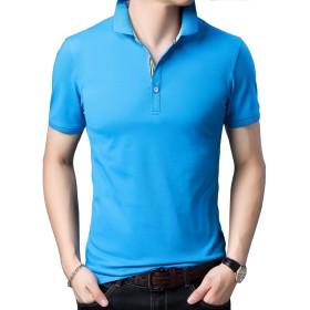 Yingqible メンズ Tシャツ ポロシャツ 半袖 ゴルフウェア スポーツウェア 作業着 カットソー 綿麻 襟付き 吸汗速乾 純色 6色展開