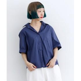 メルロー 襟ワイヤー入りオープンカラーシャツ レディース ネイビー FREE 【merlot】