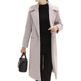 [美しいです] レディース コート スエード 折り襟 防寒 防風 ロング丈 カジュアル 保温性 軽量 ゆったり 冬服  ムートンコート (2XL, グレー)