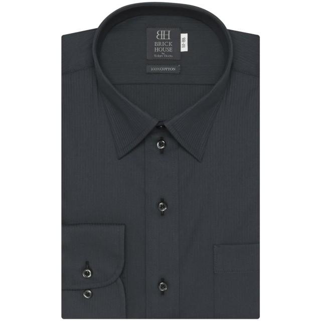 【48%OFF】 ワイシャツ 長袖 形態安定 レギュラー 綿100% グレー×ストライプ織柄 袖の長い・袖の短い・大きいサイズ クロ・グレー M-88