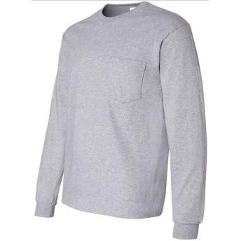GILDAN 長袖ポケット付きTシャツ 米国ブランド ウルトラコットン 6oz クルーネック エコテックスラベル認定ブランド S~XL 6色 2410 (L, グレー) [並行輸入品]