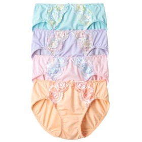 花柄刺しゅうやや深きば丈ショーツ4枚組 スタンダードショーツ,Panties