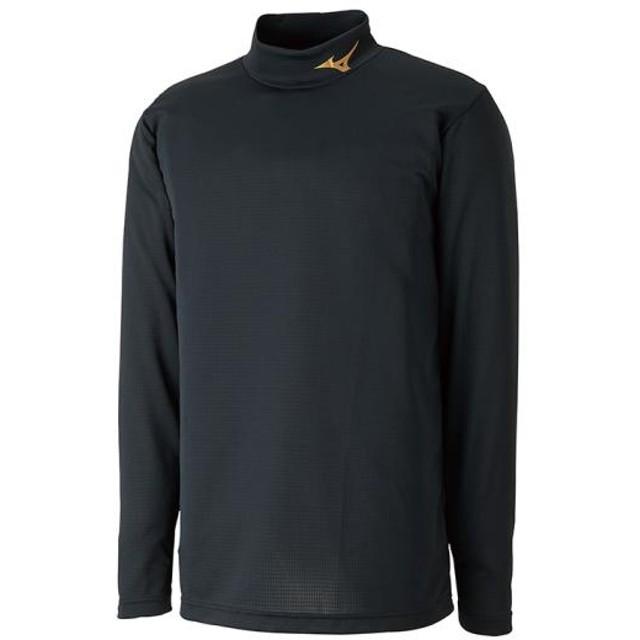 MIZUNO SHOP [ミズノ公式オンラインショップ] インナーシャツ(ハイネック/長袖)[ユニセックス] 09 ブラック×ゴールド P2MA8551