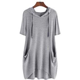 女性カジュアルソリッドキャットイヤーフード付き半袖ポケットトップブラウスシャツ (xl, グレー)夏 綿ファション 通勤 通学シンプル無地 ビ通気性ニットやわらかレディーTシャツトップスシャツ