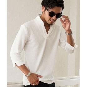 シルバーバレット CavariAふくれジャガードイタリアンカラー7分袖ポロシャツ メンズ ホワイト 44(M) 【SILVER BULLET】