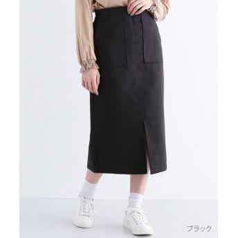 メルロー フェイクウールペンシルスカート レディース ブラック FREE 【merlot】