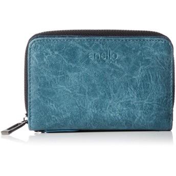 [アネロ グランデ] 折財布 GJ-A0862 VT ムラ合皮 ラウンドジップ折り財布 ブルー