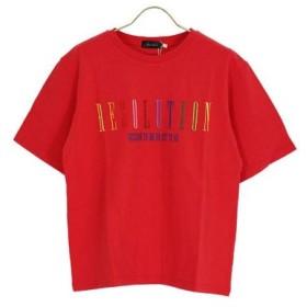 (Janiss/ジャニス)マルチカラーロゴ刺繍半袖Tシャツ/レディース レッド