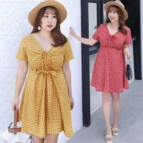 激安 高品質 夏 韓国ファッション 大きいサイズ レディース ワンピース 着痩せ 体型カバー 膝丈 お呼ばれワンピース レジャーマキシ
