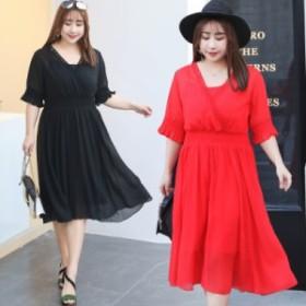 韓国ファッション 高品質 春夏秋 大きいサイズ レディース ワンピース ロング 半袖  着痩せ 通勤 レジャーマキシ ワンピース シフォン XL