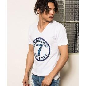 シルバーバレット CavariAスパンコール付きVネック半袖Tシャツ メンズ ホワイト 44(M) 【SILVER BULLET】