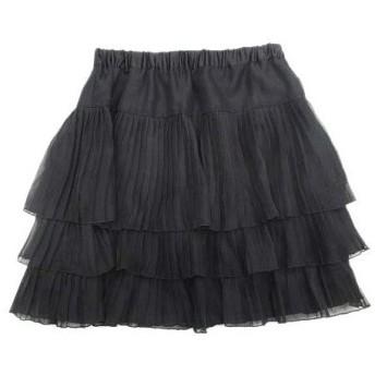 【中古】プロポーション ボディドレッシング PROPORTION BODY DRESSING ティアード プリーツ フレア スカート シフォン 3 ブラック レディース/44 レディース