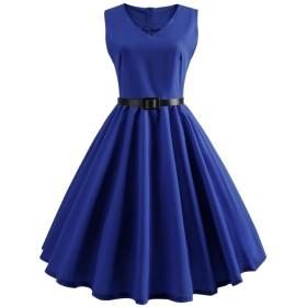 YACUN レディーズサマースイングビンテージ1950党ホーミングカクテルドレス Blue M