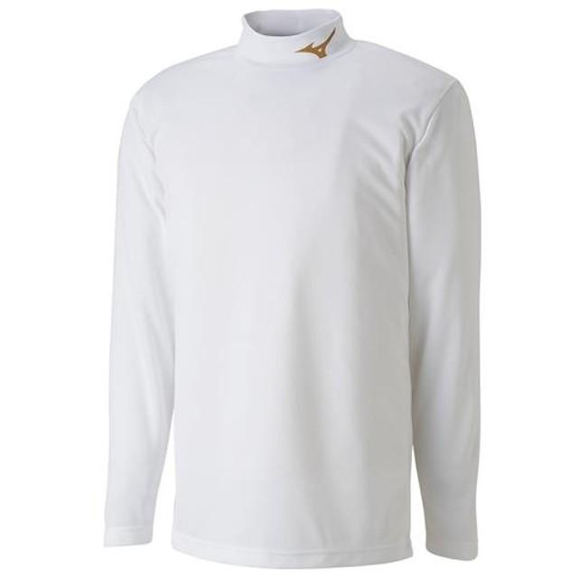 MIZUNO SHOP [ミズノ公式オンラインショップ] インナーシャツ(ハイネック/長袖)[ユニセックス] 84 ホワイト×ゴールド P2MA8551
