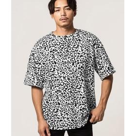 シルバーバレット CavariAレオパード柄ビッグシルエットクルーネック半袖Tシャツ メンズ ホワイト 46(L) 【SILVER BULLET】