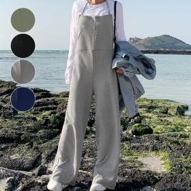 サロペット オールインワン レディース 大きいサイズ パンツ 無地 ゆったり (b240)