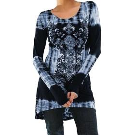 maweisong 女性大サイズロングスリーブプリントオーネックチュニックTシャツ Blue 2XL