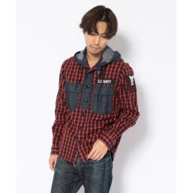 アヴィレックス TYPE BLUE/ギンガムチェック デニムコンビ フーデッドシャツ/GINGHAM CHECK DENIM COMBI SHIRT メンズ RED XXL 【AVIREX】