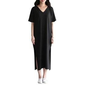 OMZIN とろみ素材 ゆったり ひざ下 Tシャツ ワンピース レディース Tワンピ ルームウェア 半袖 春 夏