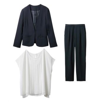 着回しスーツ3点セット(ノーカラージャケット+ブラウス+テーパードパンツ)【レディーススーツ】 (大きいサイズレディース)スーツ,women's suits ,plus size