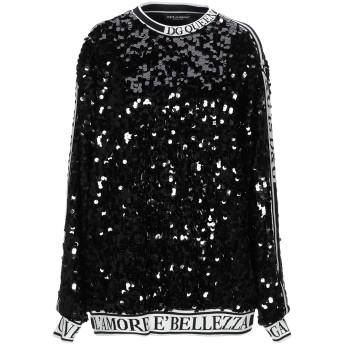 《セール開催中》DOLCE & GABBANA レディース スウェットシャツ ブラック 38 ポリエステル 100% / シルク / ポリウレタン