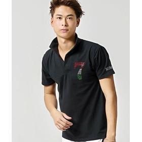 シルバーバレット CavariAラインストーン付きイタリアンカラー半袖ポロシャツ メンズ ブラック 46(L) 【SILVER BULLET】