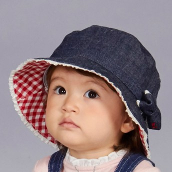 ミキハウス リボン付き デニムクロッシェ(帽子) インディゴブルー