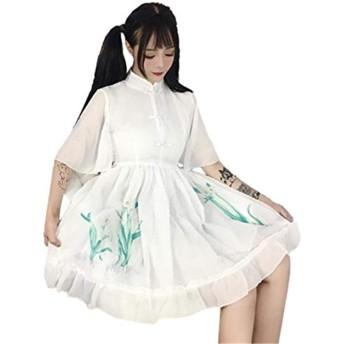(グードコ) 汉服 ワンピ レディース ワンピース ロリータ風 半袖 刺繍あり ドレス フレア 薄手 プリント スタイリッシュ 森係 ホワイトF