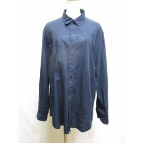 【中古】ヨーガンレール JURGEN LEHL 美品 18SS シャツ ワンピース M 紺 ネイビー 長袖 綿100% 刺繍 レディース