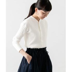 [ワークノットワーク] tシャツ ワイドリブヘンリーネックロングスリーブ Tシャツ レディース WHITE FREE