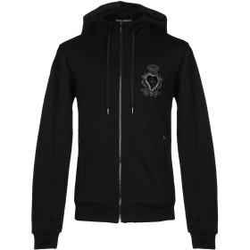 《期間限定セール開催中!》DOLCE & GABBANA メンズ スウェットシャツ ブラック 44 コットン 100% / ポリウレタン / 真鍮/ブラス / シルク / 合成繊維