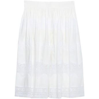 《セール開催中》DOLCE & GABBANA レディース 7分丈スカート ホワイト 38 コットン 76% / ナイロン 20% / ポリウレタン 4%