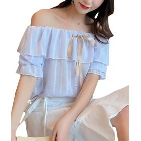 BSCOOLレディース 半袖 ブラウス ゆったり フリル tシャツ かわいい 夏 トップス(パープル)