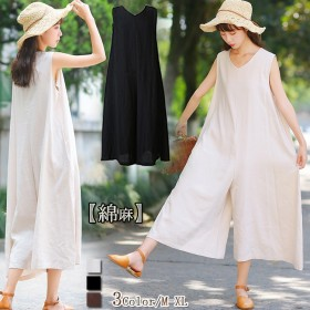 綿麻 サロペットパンツ ノースリーブ レディース セットアップ 韓国ファッション 型カバー ゆったり コーデしやすい 大人可愛い