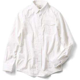 リブ イン コンフォート 重ね着してももたつかない! ストレッチガーゼ×カットソーのメンズ伸びシャツ〈オフホワイト〉 LB((身幅60~62/総丈76~78cm))