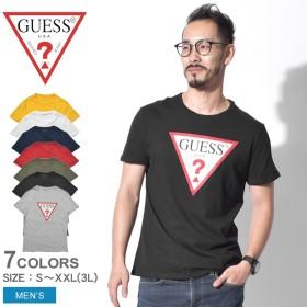 GUESS ゲス 半袖Tシャツ オリジナル トライアングル ロゴTシャツ M92I17K6XN0 メンズ 黒 白 半袖