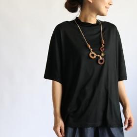●秋PRICE●61cm丈とろみ Tシャツ ゆったりスッキリ幅広カットソー首元 ハイネック・ボトルネック 半袖 G59D