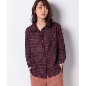 (Samansa Mos2/サマンサ モスモス)綿麻チェック7分袖ワイヤーシャツ/レディース レッド