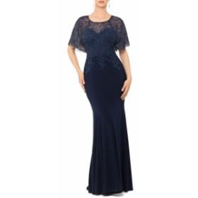 エックススケープ XSCAPE レディース パーティードレス ワンピース・ドレス Embroidered and Bead Embellished Trumpet Evening Gown Nav
