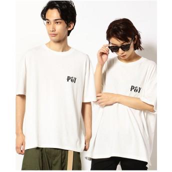 Purple & Yellow バックプリント 半袖クルーネックTシャツ(アイボリー)【返品不可商品】