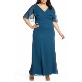 チチロンドン CHI CHI LONDON レディース パーティードレス ワンピース・ドレス Curve Kelley Chiffon Capelet Gown Teal