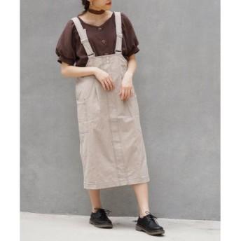 (179/WG NICOLE CLUB/179/WG ニコルクラブ)コットンツイルジャンパースカート/レディース 19ライトグレー 送料無料