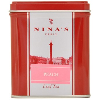 NINA'S スクエア缶ティーバッグ ピーチ○11456002_jyosetsu デリ(食品・飲料・お酒)